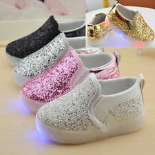 Boys Girls Baby Toddler Flats Glitter Casual Slip On Shoes Kids Year 1-3