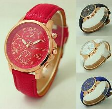 Fashion Women's Leather Stainless Steel Bracelet Dial Analog Quartz Wrist Watch