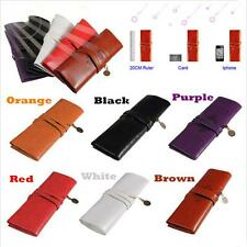 Cosmetic Roll Purse Bag Make Up Pen Pencil Case Pouch Leather