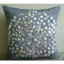 Mother Of Pearls Tree 14x14 Art Silk Grey Throw Pillow Covers - Silver Hope Tree