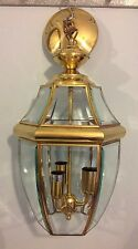 Lantern Style Brass and Glass Ceiling Pendant Light