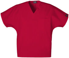 Cherokee Workwear Unisex V-neck Scrub Tunic Top Red