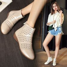 Womens New Hollow Out Ankle Boots Wedge Low Heel Zip Sandals Leather Shoes US Sz