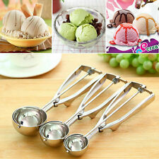 Ice Cream Spoon Stainless Steel Spring Handle Masher Cookie Scoop C^^