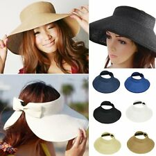 Stylish Women Summer Sun Beach Foldable Roll Up Wide Brim Straw Visor Hat Cap ^^