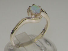 Solid 9ct White Gold Natural Opal Contemporary Style Solitaire Swirl Ring