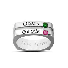 Men Women Ring, Personalized Name Engraving & Birthstones Promise Couples Rings