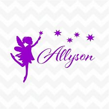Fairy + stars custom name personalised vinyl sticker decal decor for wall door