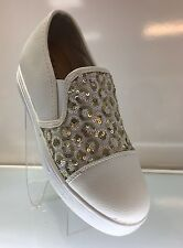 LADIES WOMENS WHITE LEATHER STYLE TRAINER LOAFER PUMPS SNEAKER SHOES FLAT SIZE 6