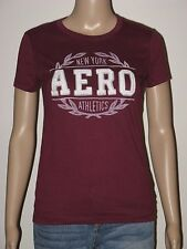 Aeropostale T-Shirt Womens Slim NY Aero Athletics Graphic S M or L  Burgundy NWT