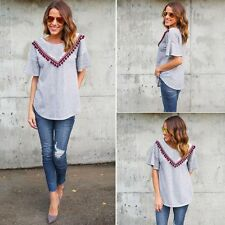 Fashion Women Summer Top Long Sleeve Shirt Blouse Casual Tassel Tops T-Shirt New
