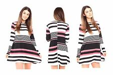 WOMENS CORAL STRIPED LONG SLEEVE FLOATY  LADIES SKATER SWING DRESS TOP 8-26