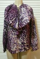 NEW! ANNE KLEIN Magenta Multi Ruffle Lace Up Long Sleeves Blouse Top XSmall