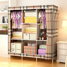 Bedroom Furniture Closet Large Portable Cloth Wardrobe Armoire Triple Storage