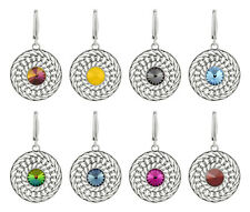 Sterling Silver Round Earrings Safety Hooks with SWAROVSKI Rivoli 1122 Crystals