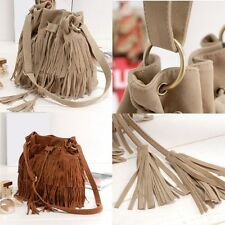 Women Girls Faux Suede Fringe Tassel Shoulder Bag Across Body Bag Messenger Bag