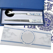 Nice-boxing 2 Piece Oriental Inspiration Silver Stainless Steel Chopsticks Spoon