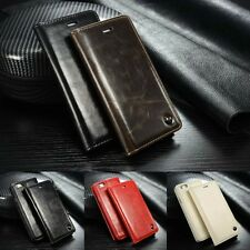 Classic Vintage Leather Wallet Flip Case Stand Cover for iPhone Samsung Galaxy E