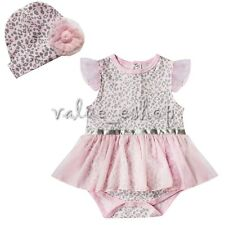 Newborn Infant Baby Girl Cap+Romper Bodysuit Tutu Dress Outfit Clothes Set 6-18M