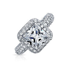 Bling Jewelry Pave Square Princess Cut CZ 925 Sterling Silver Engagement Ring