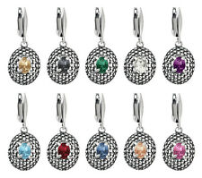 Sterling Silver Oval Shape Earrings Safety Hooks with SWAROVSKI 4120 Crystals