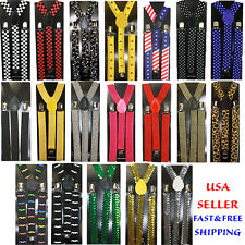 Clip-on Suspenders Elastic Y-Shape Adjustable Braces - Plain Color Suspenders