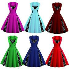 Women Retro 50s Polka Dot Swing Solid Pinup Rockabilly Evening Party Dress S-4XL