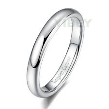 Men Women Jewelry Tungsten Carbide Bridal Ring Polished Silver Dome Wedding Band