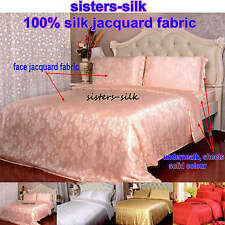 5pcs 19MM 100% Pure Silk Jacquard Duvet Cover Fitted Flat Sheet Set Seamless