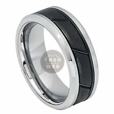 Men's 8mm Beveled Edge 2-Tone Tungsten Ring w/ Black IP Grooved Center TS7140