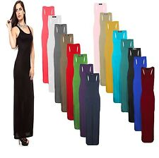 NEW WOMENS LADIES PLAIN BASIC CASUAL RACER MUSCLE BACK MAXI DRESS PLUS SIZE 8-26