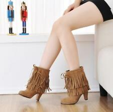 Fashion Womens ladies tassels fringe chunky heels lace-up ankle boots shoes size