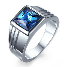 Men's Stainless Steel Blue Aquamarine Wedding Ring Gift Size 7,8,9,10,11