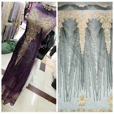 Unique Embroidery Sequins Mesh Lace Fabric Dress Evening Gown Event 51''/ Yard