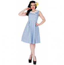 Dolly & Dotty Sally Vintage Light Blue Polka Dot Nautical 40s 50s Sailor Dress 8