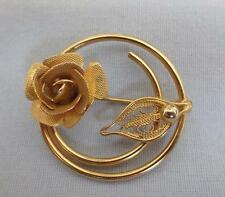 """Sarah Coventry """"Promise"""" Open Circle Textured Flower Pin, 1967"""