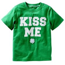 CARTER'S ST PATRICK'S DAY KISS ME SHAMROCK BABY BOY GIRL GREEN T SHIRT TOP 6M