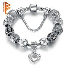 Fashion Silver Heart Charms Bracelet Bangle for Women DIY 925 Crystal Beads Fit