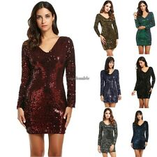 Women's V-Neck Long Sleeve Sequined Cocktail Bodycon club party Mini Dress CLSV
