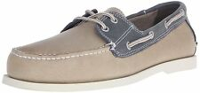NWB Dockers Men's Vargas Leather Uppers Boat Shoe Stone/Washed Navy MSRP $80