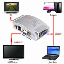 Laptop VGA to AV RCA TV Monitor S-video Signal Adapter Converter Switch Box TO