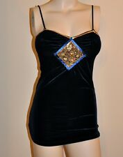 SEXY NAVY SEQUIN BEADED DIAMOND PATCH VELOUR CLEAVAGE TOP CAMI PARTY TUNIC NWTS