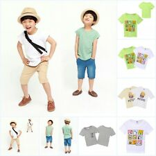 2-7Y Toddler lKids Boys Cartoon Pattern Short Sleeve T-shirt Casual Tops Blouse