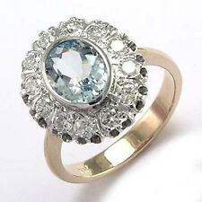 Aquamarine and Diamond Ring 14k Gold Russian Jewelry Ring Sizes 4 to 9.5 #R1712