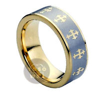 Men's 8mm Pipe Cut Edge Yellow Gold IP Tungsten w/ Celtic Crosses Ring TS1420