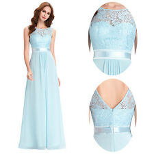 Stock Long Chiffon Lace Bridesmaid Prom Formal Party Dresses Evening Ballgown