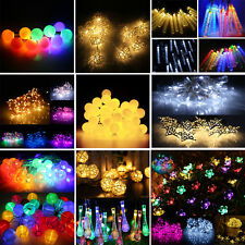 Solar Battery 20/50/100 LED Fairy String Light Xmas Christmas Party 17 Patterns