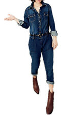 Women's Long Sleeve Jeans Jumpsuit Denim Overall Loose Pants Workwear Coverall