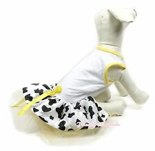 White Yellow Bows Milk cow Tulle Skirt One Piece Dress Pet Cat and Dog Outfits