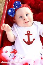 Sailor 4th July White Cotton Bodysuit Red Blue Star Girls Baby Dress Set NB-18M